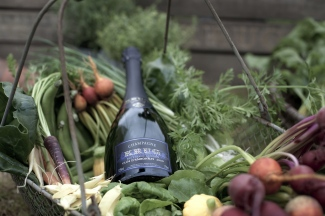"""Andrew Fairlie and Olivier Krug host a combined lunch and Krug tasting occasion at Andrews """"secret garden"""" in Perthshire to launch a new Krug champagne - Clos D'Ambonnay 2000. (Photo by David Gillanders) www.davidgillanders.com"""