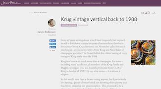 Jancis Robinson: Krug vintage vertical back to 1988