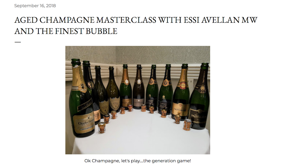 Aged Champagne Masterclass with Essi Avellan MW and The Finest Bubble