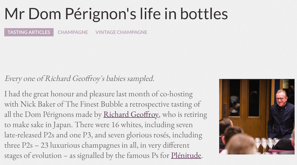 Mr Dom Pérignon's Life in Bottles