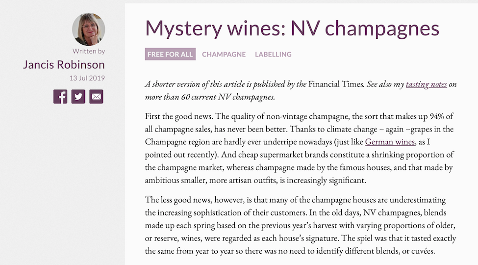 Jancis Robinson MW: Mystery wine: NV champagnes