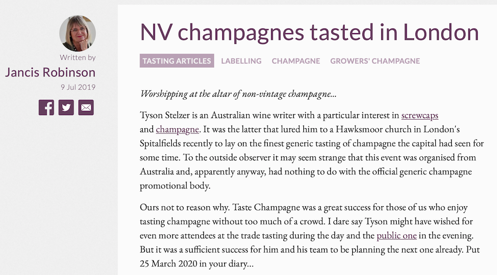 Jancis Robinson MW: NV champagnes tasted in London