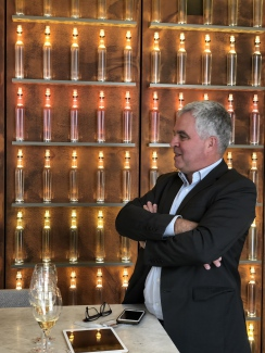 Olivier Krug in the new tasting room befit with an impressive sound system for sharing the musical experience