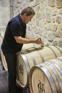 Cyril Brun with the new oak barrels used for Brut NV