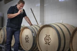 Cyril Brun with the new oak barrels