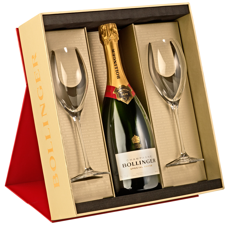 Champagne Rose With Set Of Glasses