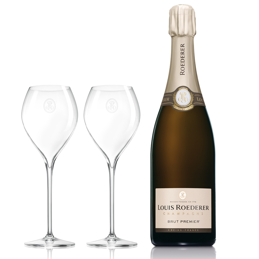 louis roederer brut premier flutes gift set nv same day. Black Bedroom Furniture Sets. Home Design Ideas